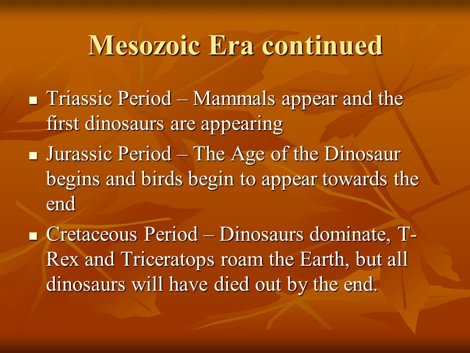 Mesozoic Era continued