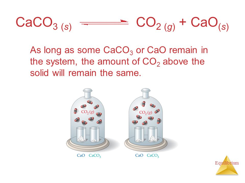 CaCO3 (s) CO2 (g) + CaO(s) As long as some CaCO3 or CaO remain in the system, the amount of CO2 above the solid will remain the same.
