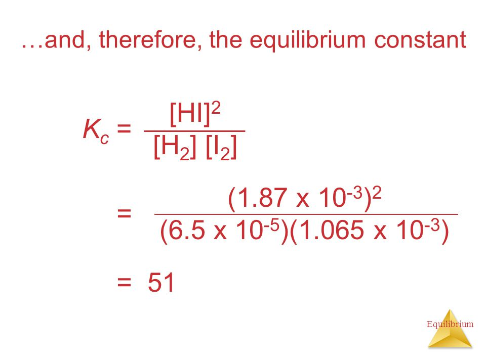 …and, therefore, the equilibrium constant