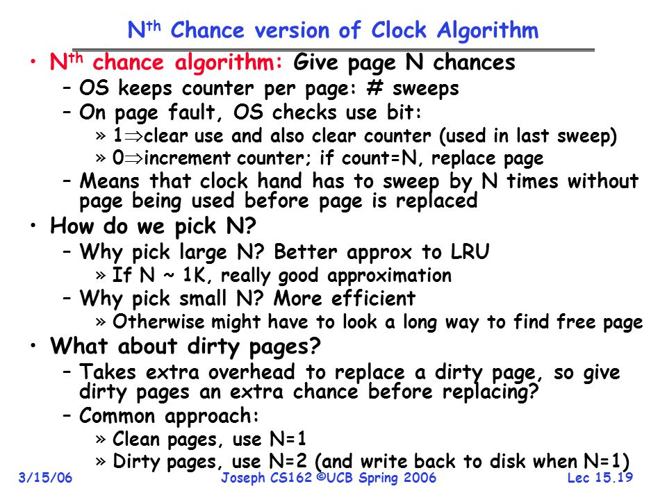 Nth Chance version of Clock Algorithm