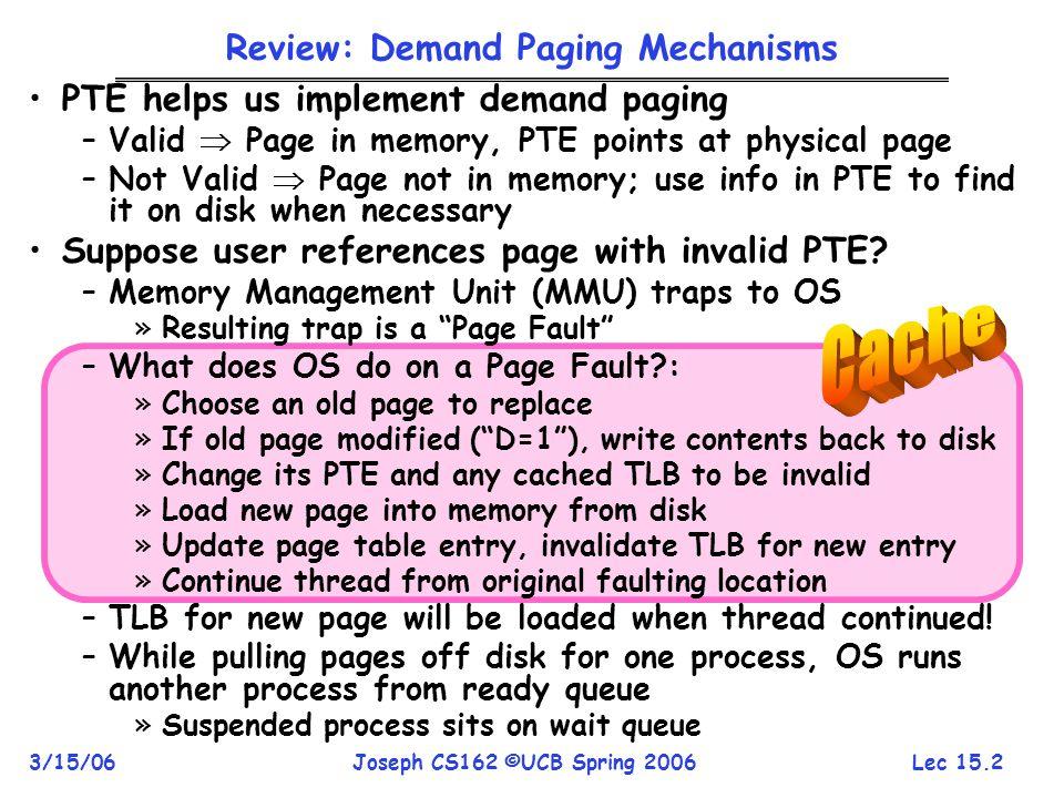 Review: Demand Paging Mechanisms