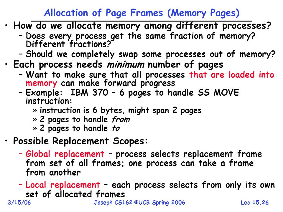Allocation of Page Frames (Memory Pages)