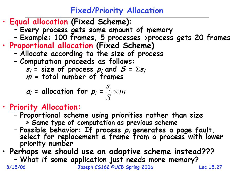 Fixed/Priority Allocation