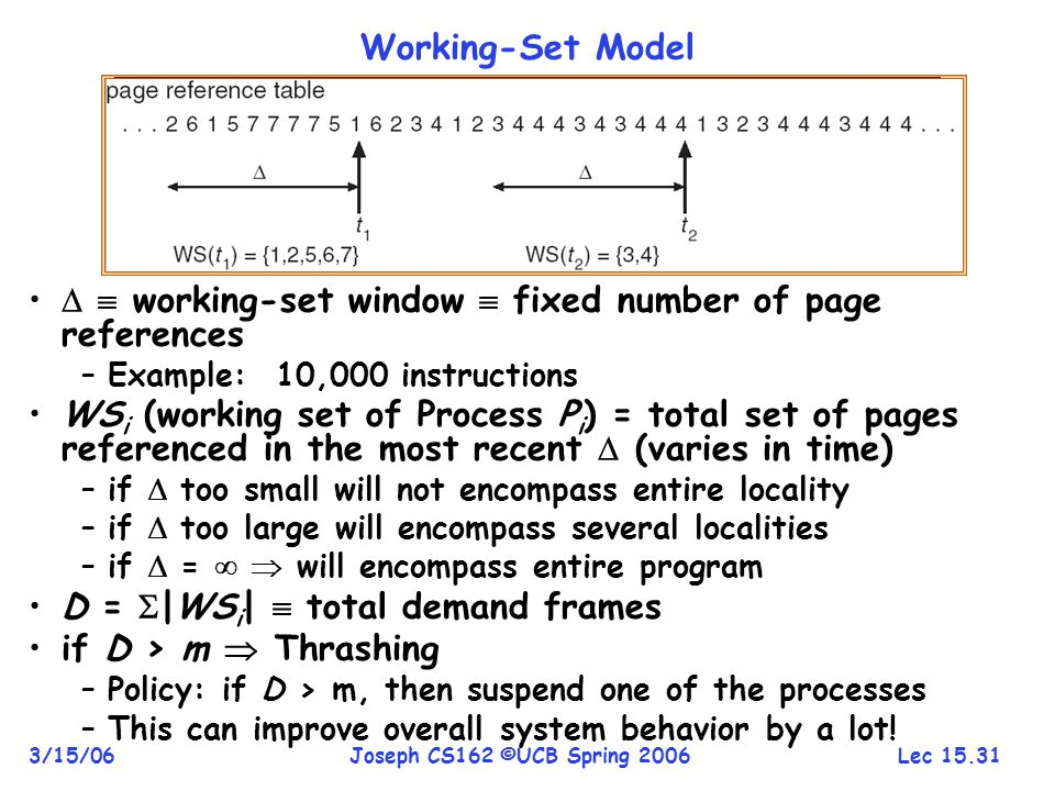   working-set window  fixed number of page references