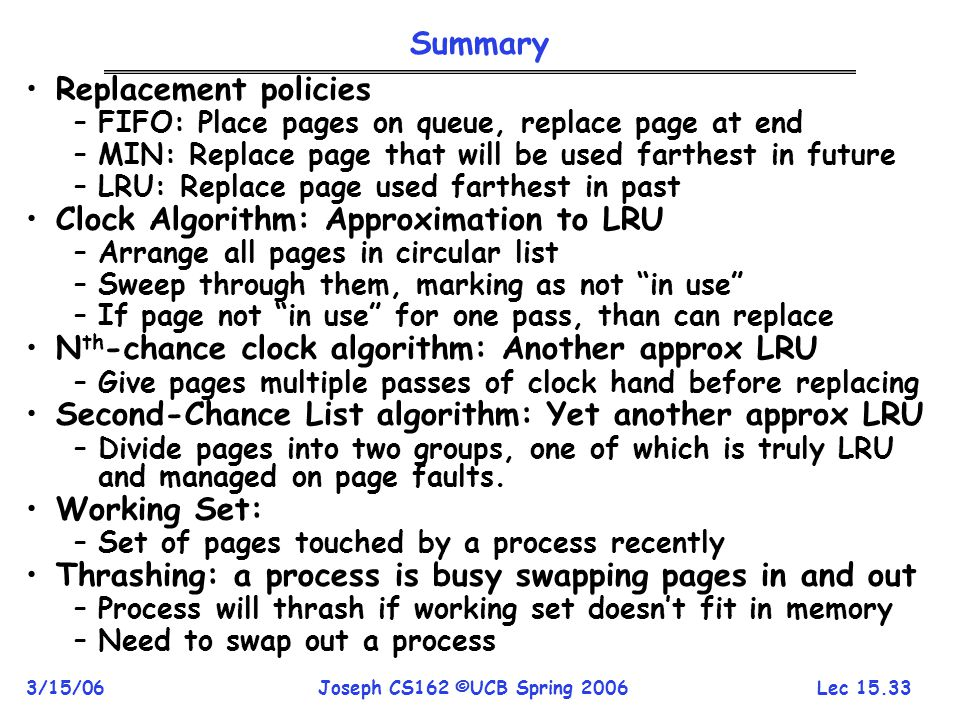 Clock Algorithm: Approximation to LRU