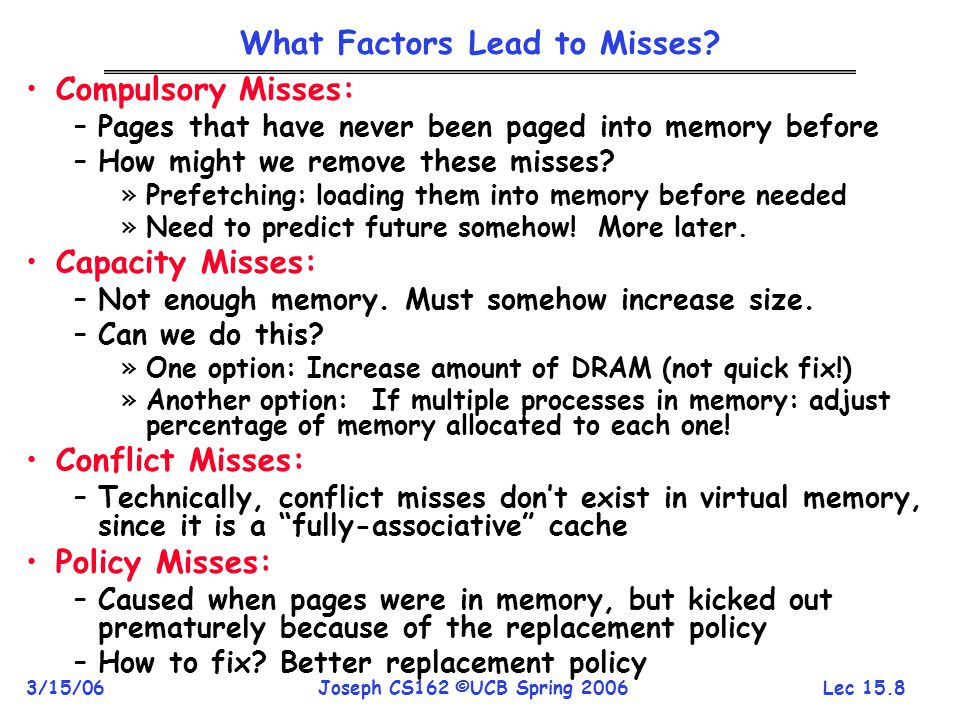 What Factors Lead to Misses