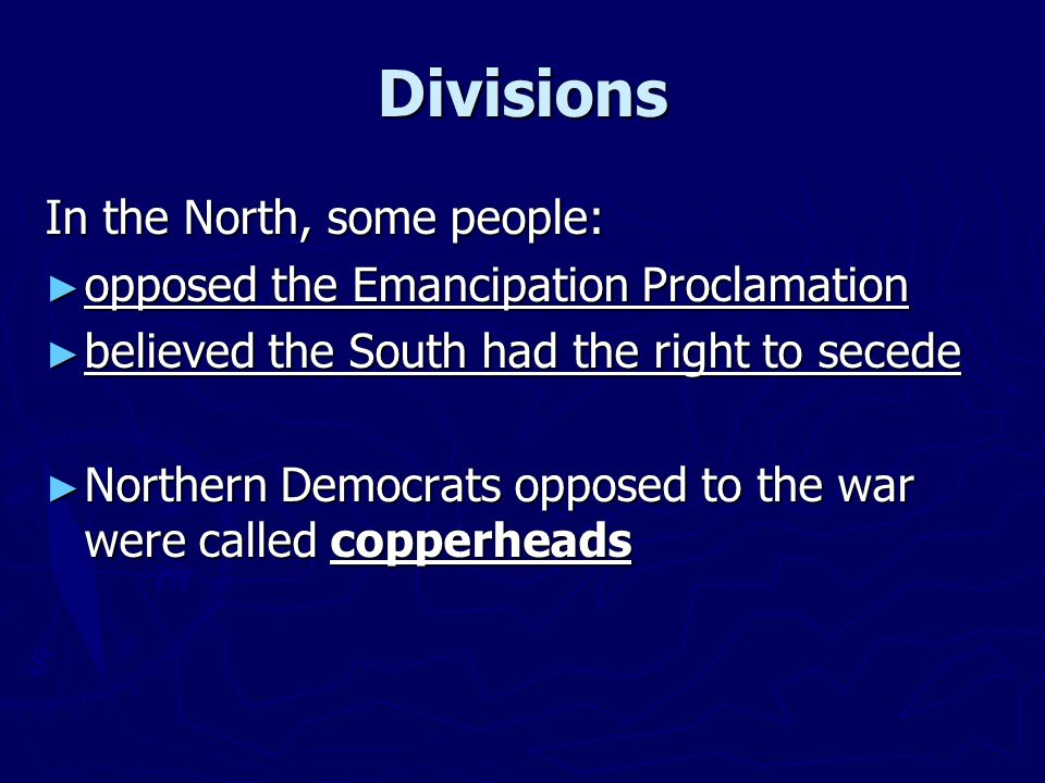 Divisions In the North, some people: