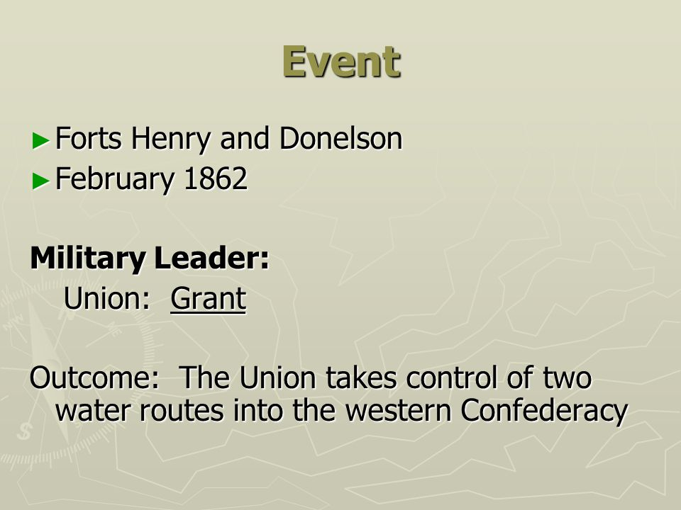 Event Forts Henry and Donelson February 1862 Military Leader: