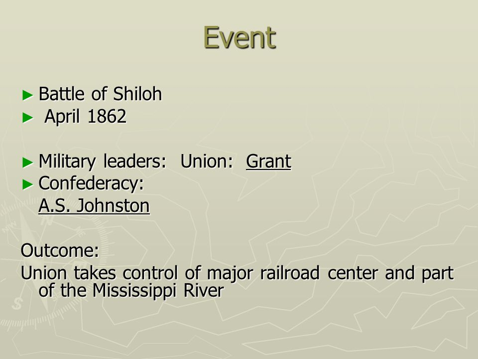 Event Battle of Shiloh April 1862 Military leaders: Union: Grant