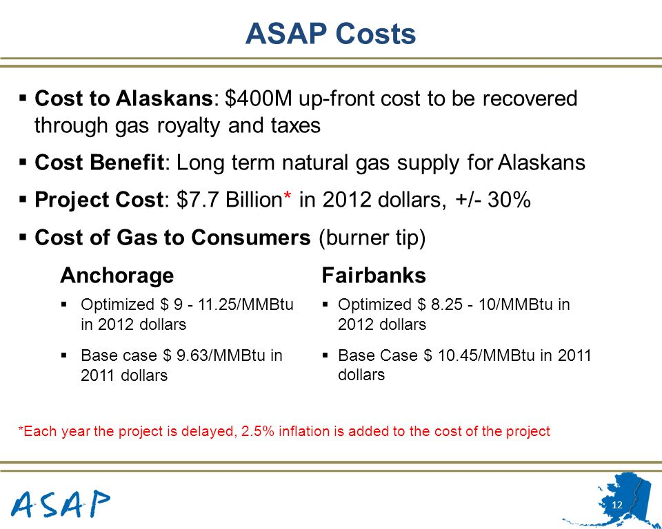 ASAP Costs Cost to Alaskans: $400M up-front cost to be recovered through gas royalty and taxes.
