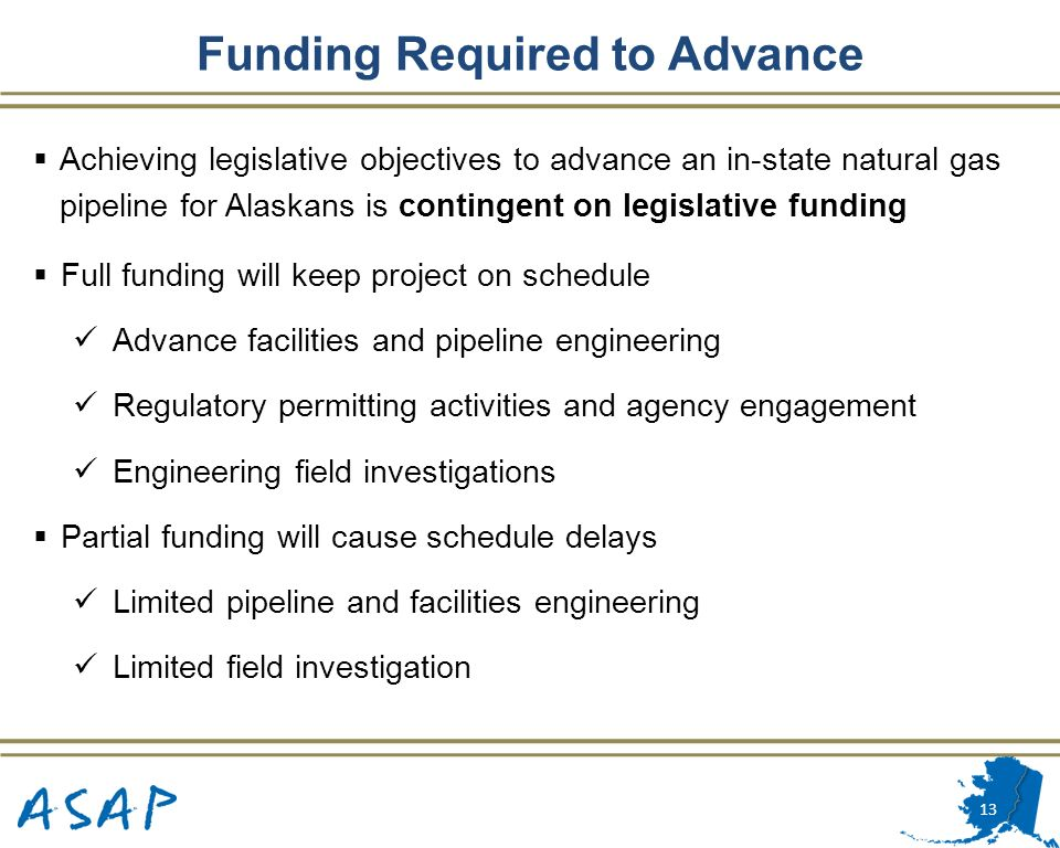 Funding Required to Advance
