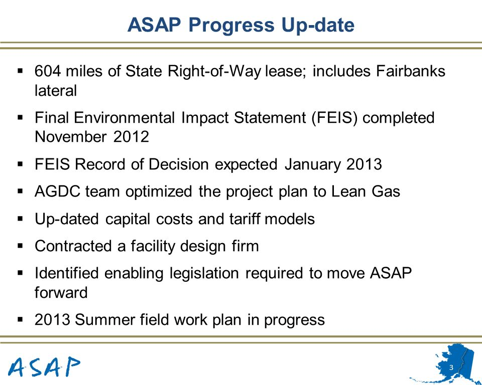 ASAP Progress Up-date 604 miles of State Right-of-Way lease; includes Fairbanks lateral.