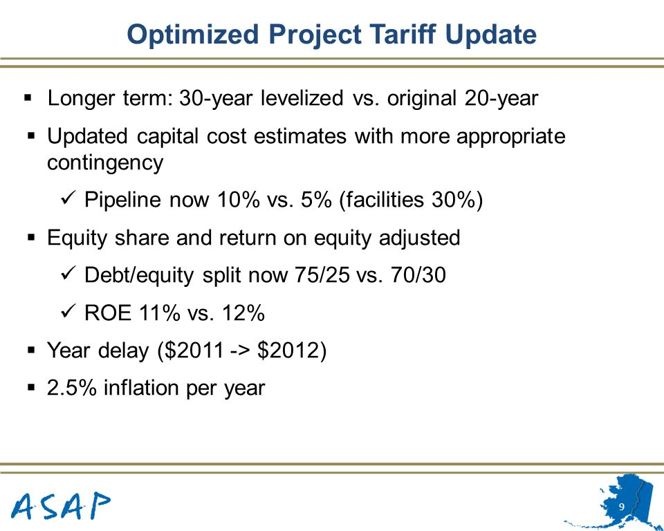 Optimized Project Tariff Update