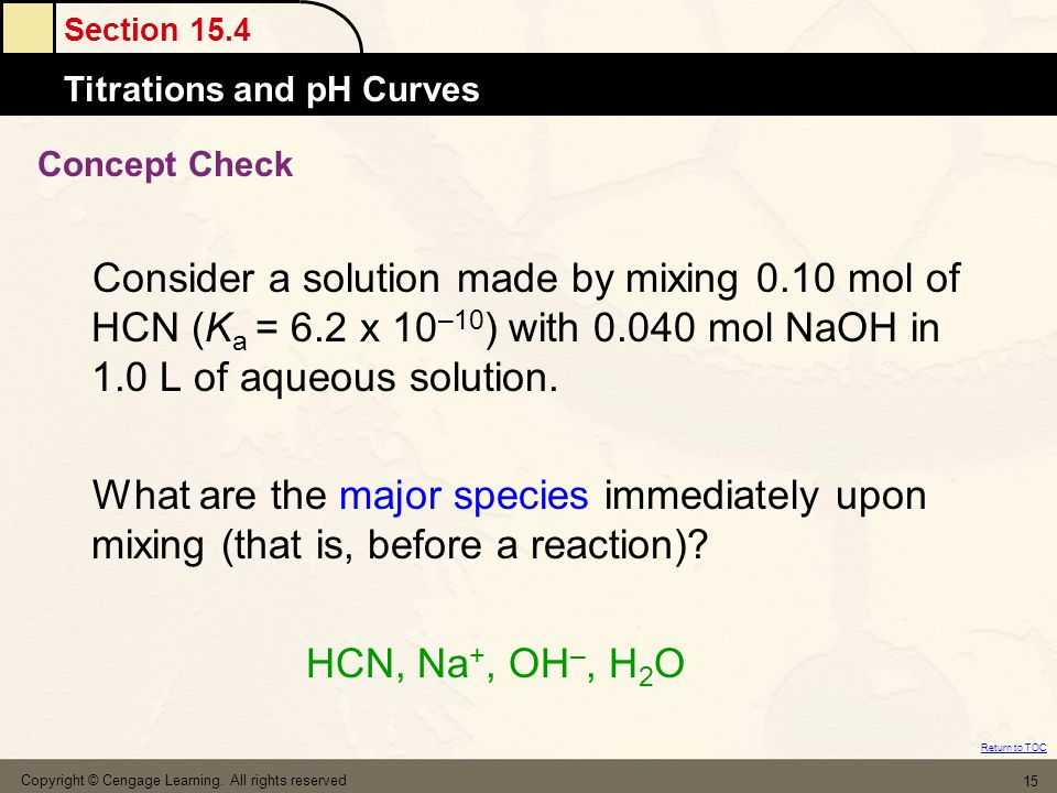 Concept Check Consider a solution made by mixing 0.10 mol of HCN (Ka = 6.2 x 10–10) with 0.040 mol NaOH in 1.0 L of aqueous solution.