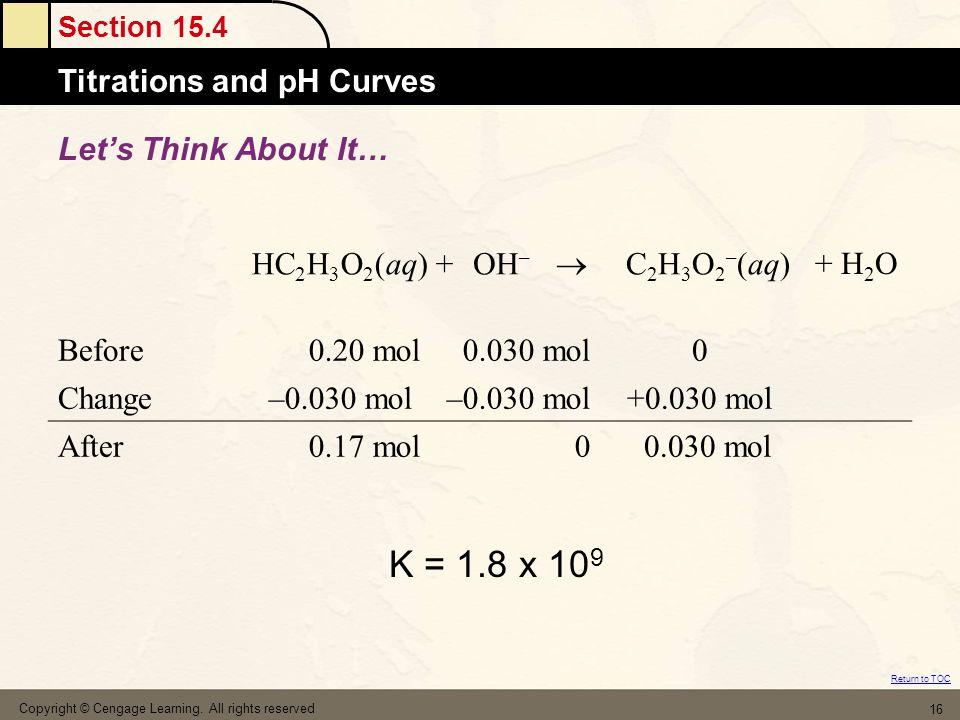 K = 1.8 x 109 Let's Think About It… HC2H3O2(aq) + OH–  C2H3O2–(aq)