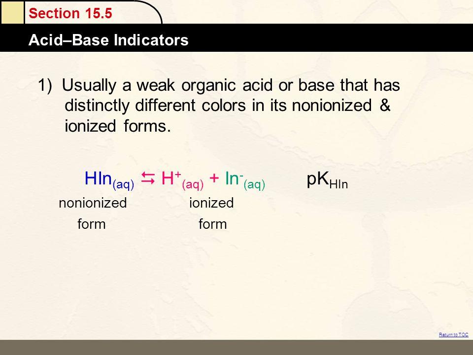 HIn(aq)  H+(aq) + In-(aq) pKHIn