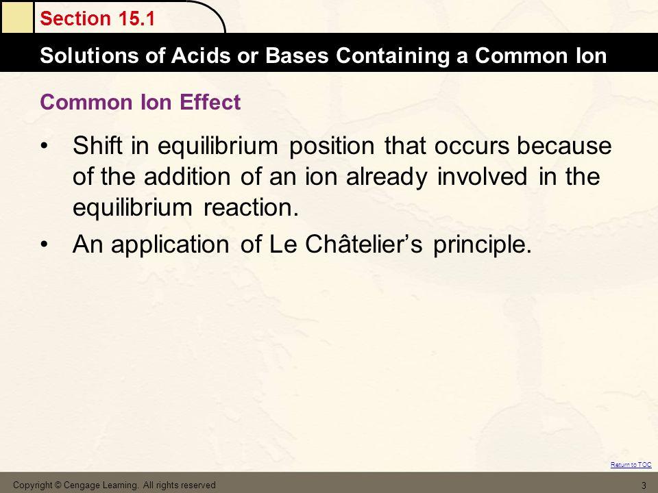 An application of Le Châtelier's principle.
