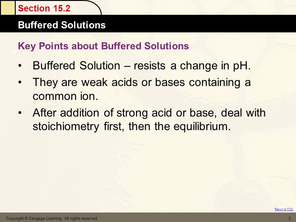 Key Points about Buffered Solutions