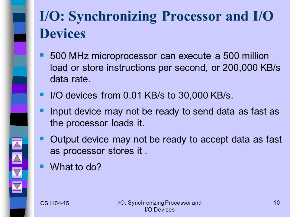 I/O: Synchronizing Processor and I/O Devices