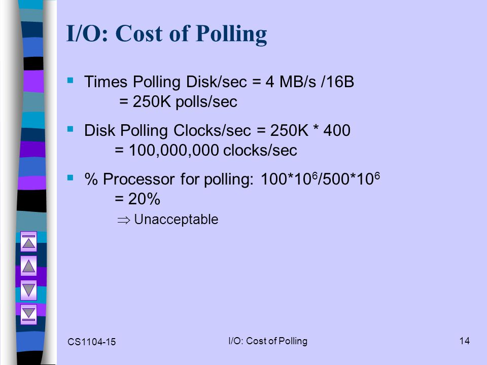 I/O: Cost of Polling Times Polling Disk/sec = 4 MB/s /16B = 250K polls/sec. Disk Polling Clocks/sec = 250K * 400 = 100,000,000 clocks/sec.