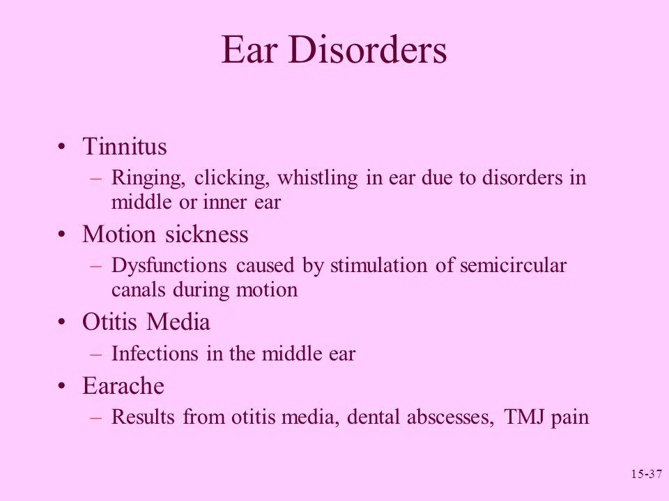 Ear Disorders Tinnitus Motion sickness Otitis Media Earache