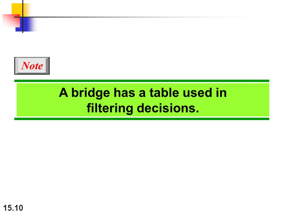 A bridge has a table used in filtering decisions.