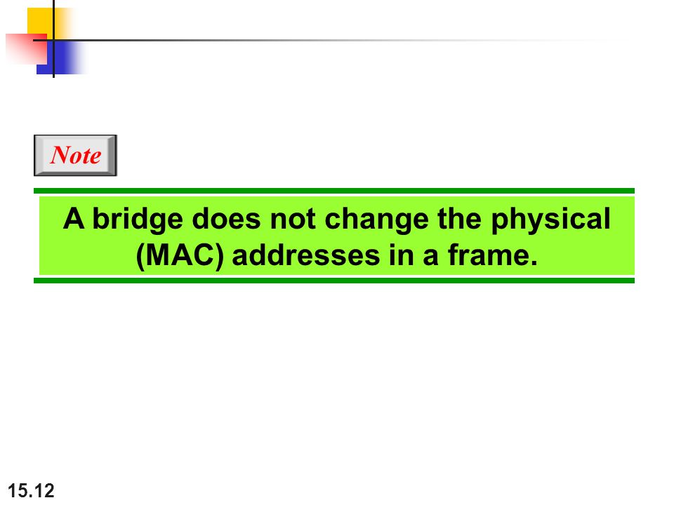 A bridge does not change the physical (MAC) addresses in a frame.