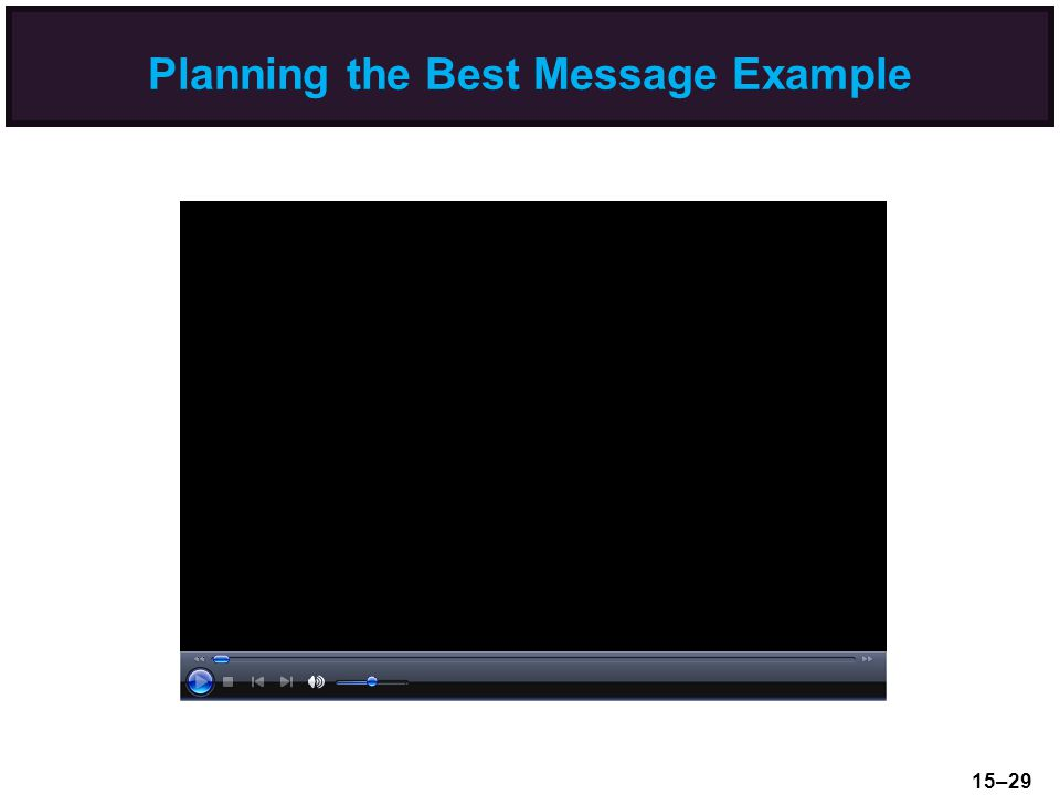 Planning the Best Message Example