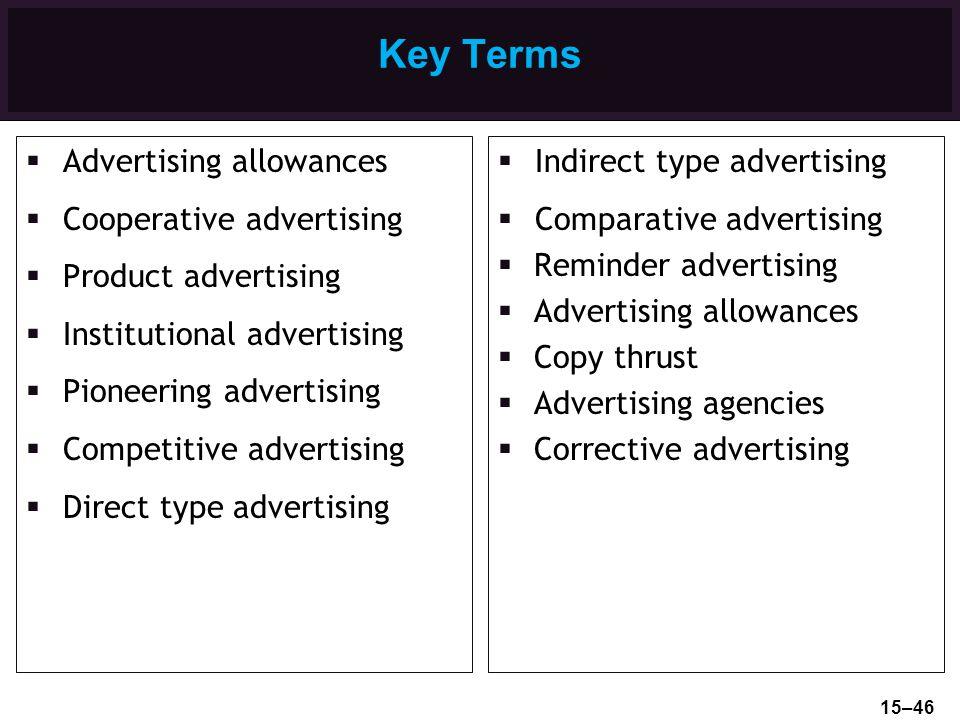Key Terms Advertising allowances Cooperative advertising