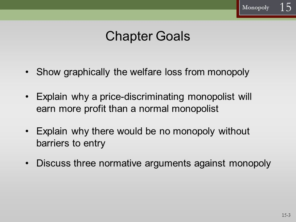 Chapter Goals Show graphically the welfare loss from monopoly
