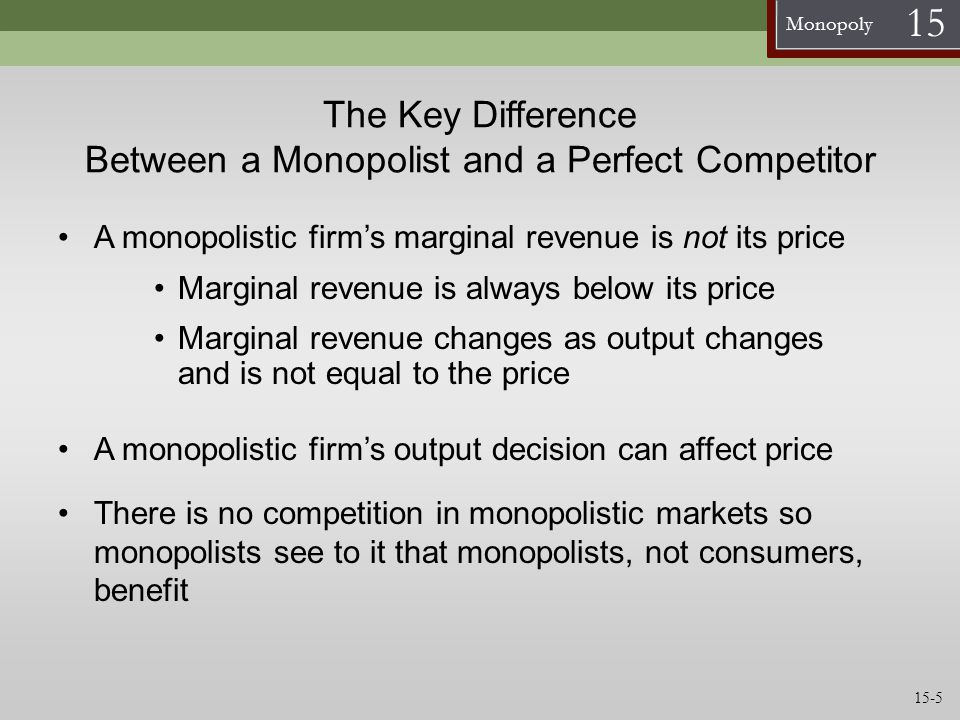 The Key Difference Between a Monopolist and a Perfect Competitor