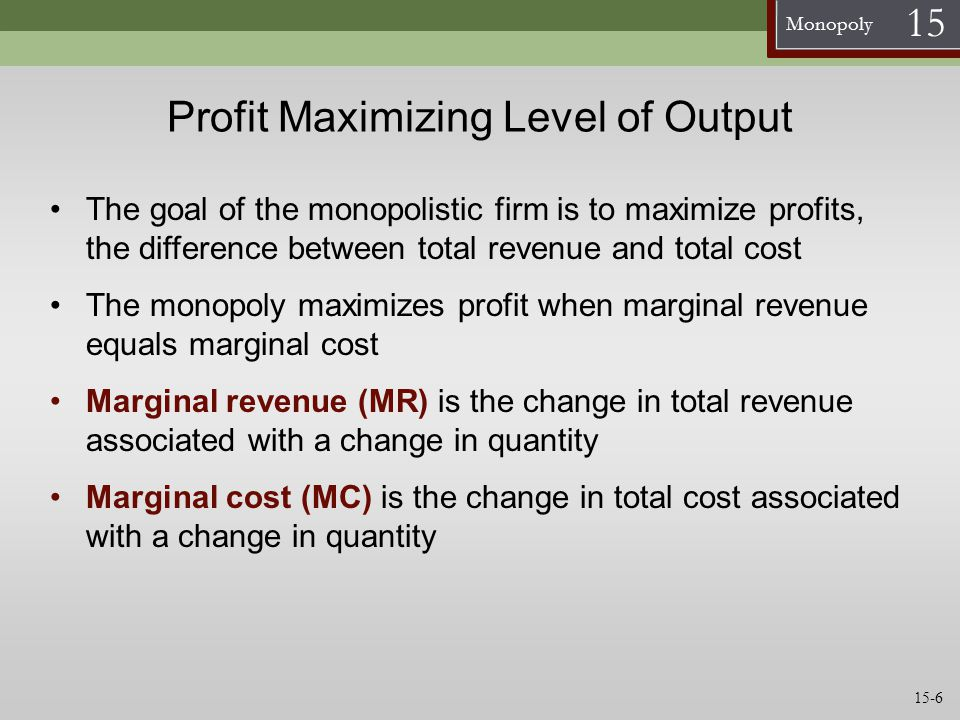 Profit Maximizing Level of Output