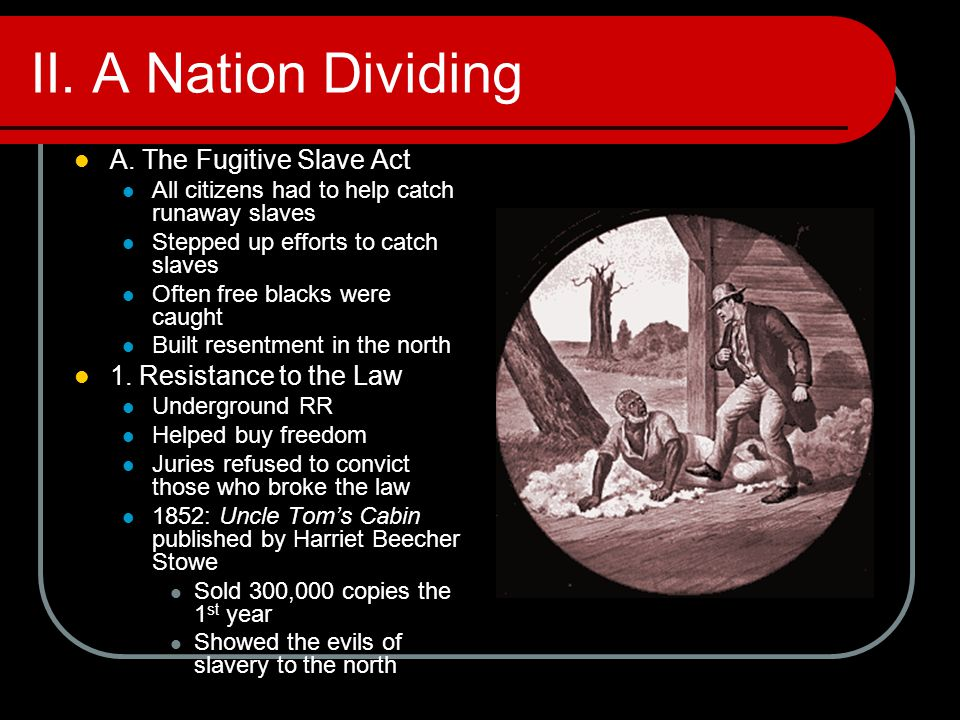 II. A Nation Dividing A. The Fugitive Slave Act