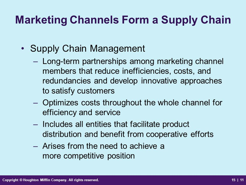 Marketing Channels Form a Supply Chain