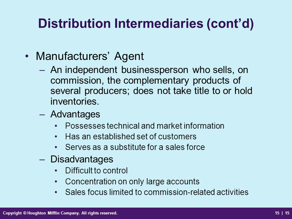 Distribution Intermediaries (cont'd)