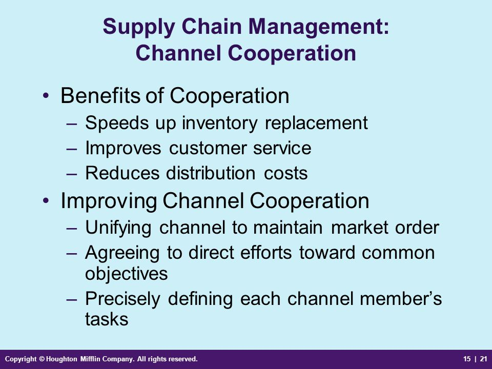 Supply Chain Management: Channel Cooperation