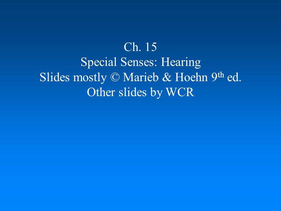 Special Senses: Hearing Slides mostly © Marieb & Hoehn 9th ed.