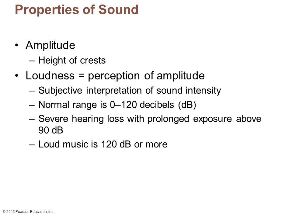 Properties of Sound Amplitude Loudness = perception of amplitude