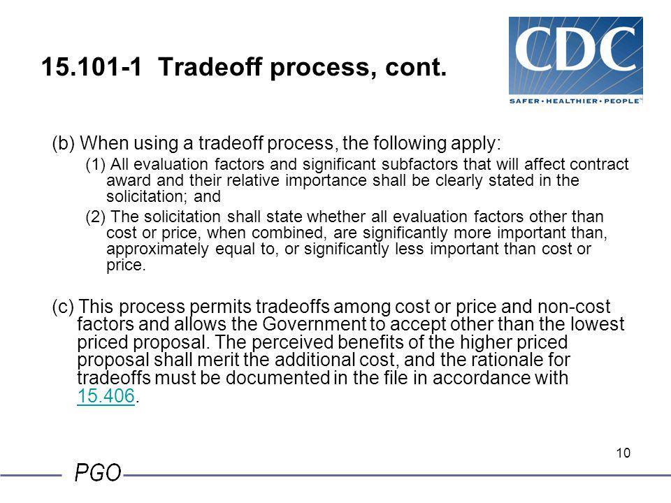 15.101-1 Tradeoff process, cont.