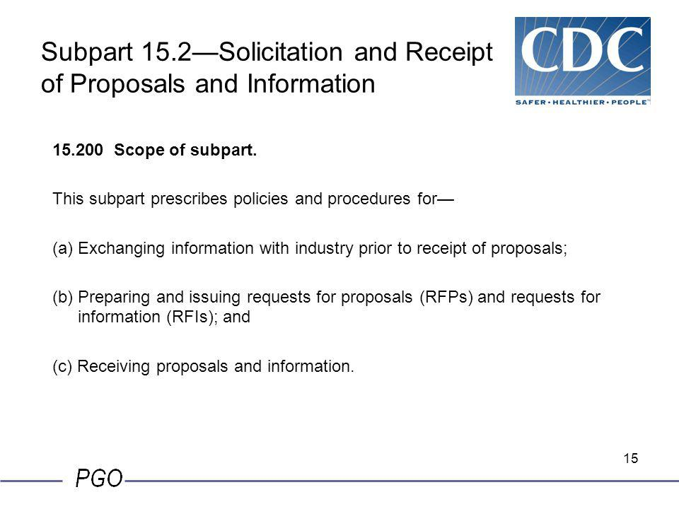 Subpart 15.2—Solicitation and Receipt of Proposals and Information