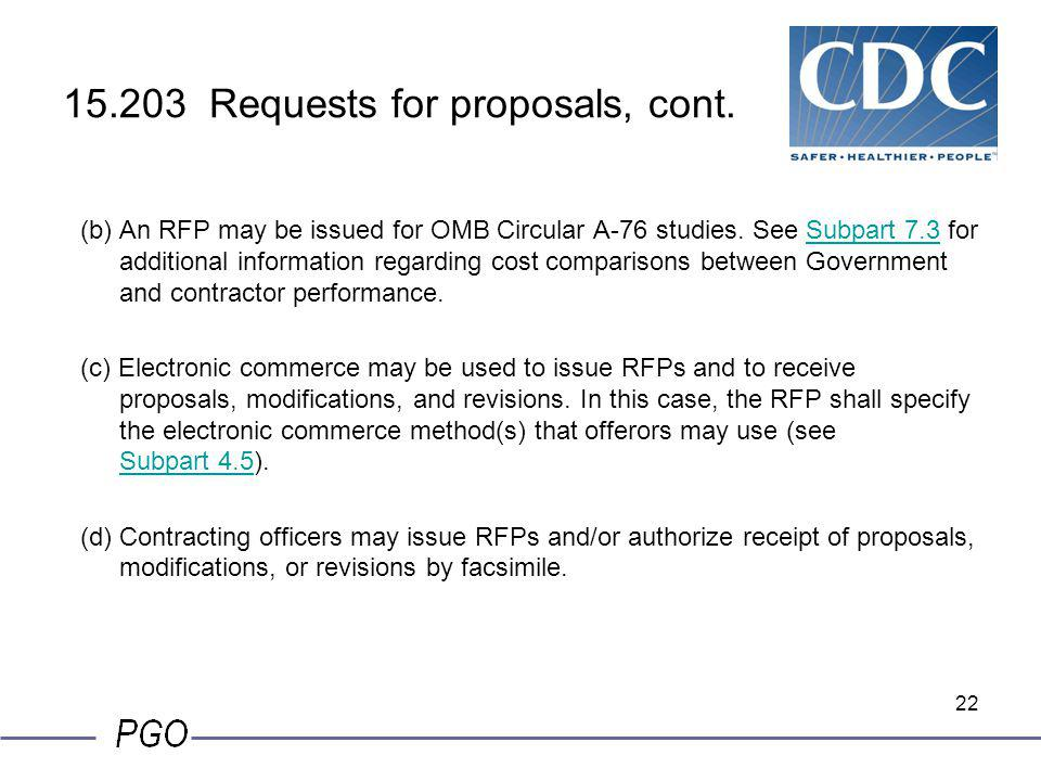 15.203 Requests for proposals, cont.