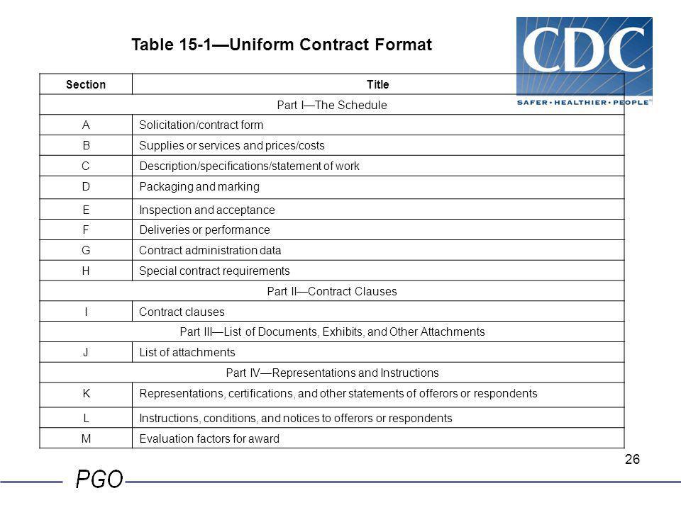 Table 15-1—Uniform Contract Format