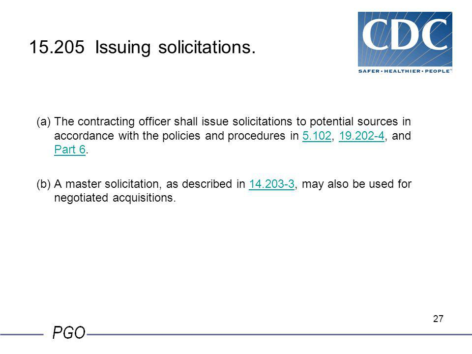 15.205 Issuing solicitations.