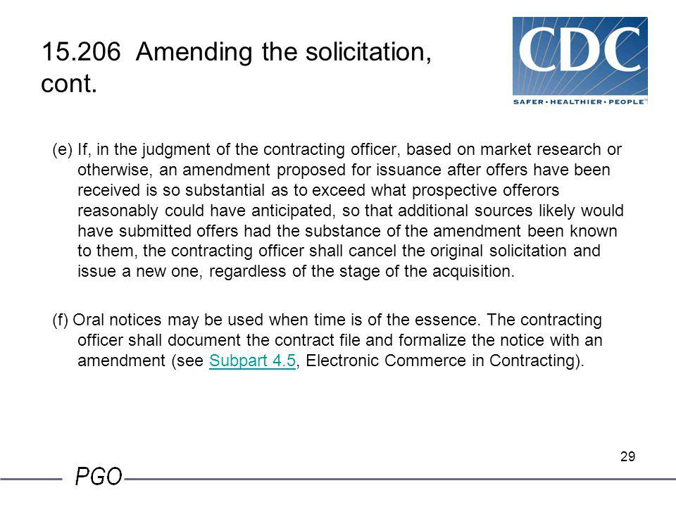 15.206 Amending the solicitation, cont.