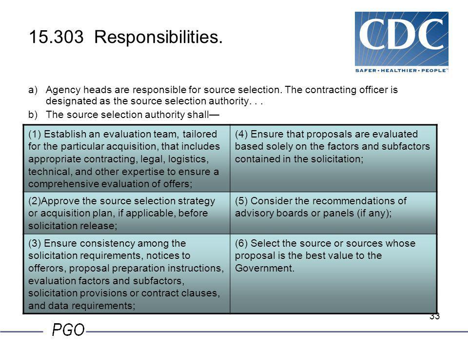 15.303 Responsibilities.