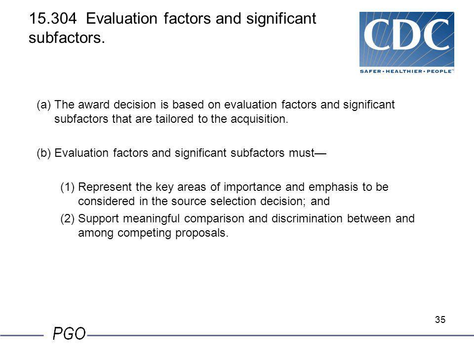 15.304 Evaluation factors and significant subfactors.