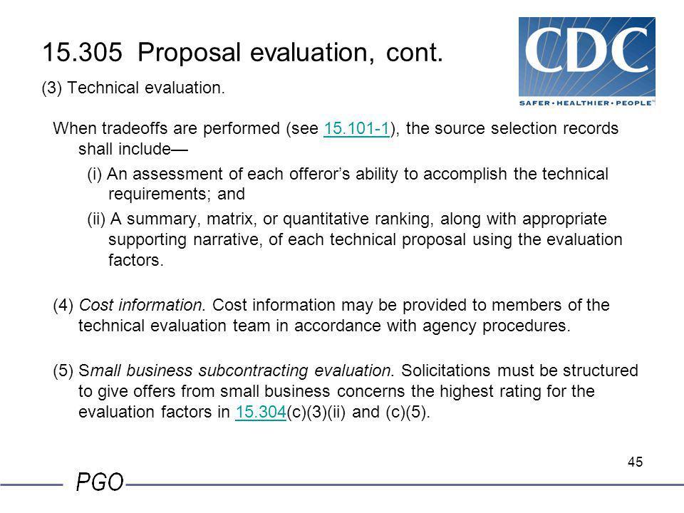 15.305 Proposal evaluation, cont. (3) Technical evaluation.