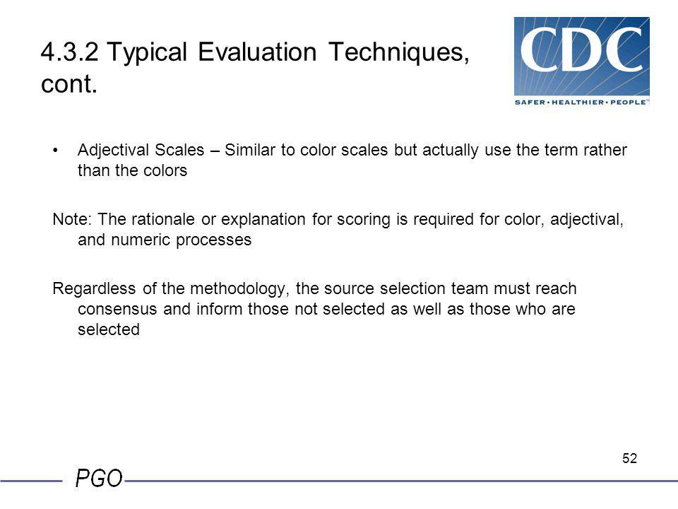 4.3.2 Typical Evaluation Techniques, cont.