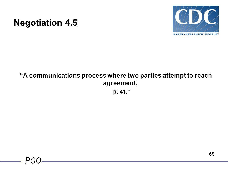 Negotiation 4.5 A communications process where two parties attempt to reach agreement, p. 41.