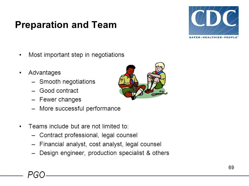 Preparation and Team Most important step in negotiations Advantages